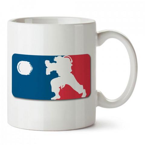 Street Fighter Ryu Aduket tasarım baskılı porselen kupa bardak modelleri (mug bardak). Dövüş, savunma, savaş sanatları ile ilgili hediye. Kahve kupası.