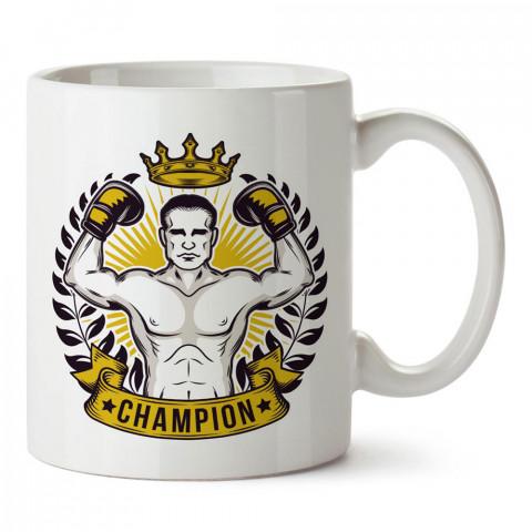 Şampiyon Boksör tasarım baskılı porselen kupa bardak modelleri (mug bardak). Dövüş, savunma, savaş sanatları ile ilgili en güzel hediye. Kahve kupası.
