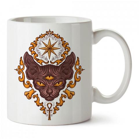 3 Gözlü Sfenks Kedisi tasarım baskılı porselen kupa bardak modelleri (mug bardak). Sevdiklerinizi mutlu edecek hediyeler. Kahve kupası.