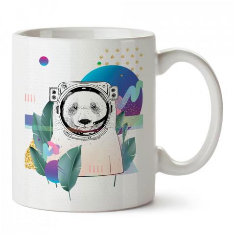 Astronot Panda tasarım baskılı porselen kupa bardak modelleri (mug bardak). Sevdiklerinizi mutlu edecek hediyeler. Kahve kupası.