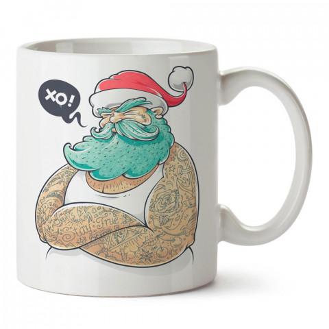 Dövmeli Noel Baba tasarım baskılı porselen kupa bardak modelleri (mug bardak). Sevdiklerinizi mutlu edecek hediyeler. Kahve kupası.