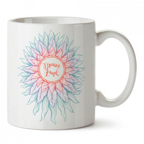Düşler Ülkesi Çiçeği tasarım baskılı porselen kupa bardak modelleri (mug bardak). Sevdiklerinizi mutlu edecek hediyeler. Kahve kupası.