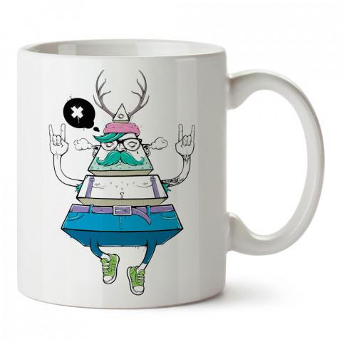 Hipster Piramit tasarım baskılı porselen kupa bardak modelleri (mug bardak). Sevdiklerinizi mutlu edecek hediyeler. Kahve kupası.