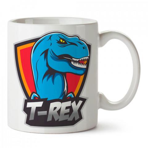 Mavi T-Rex Dinozor tasarım baskılı porselen kupa bardak modelleri (mug bardak). Sevdiklerinizi mutlu edecek hediyeler. Kahve kupası.