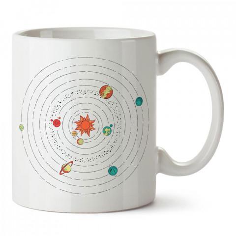 Minimal Güneş Sistemi tasarım baskılı porselen kupa bardak modelleri (mug bardak). Sevdiklerinizi mutlu edecek hediyeler. Kahve kupası.
