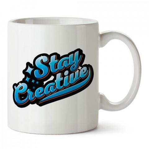 Yaratıcı Ol Yazılı tasarım baskılı porselen kupa bardak modelleri (mug bardak). Sevdiklerinizi mutlu edecek hediyeler. Kahve kupası.
