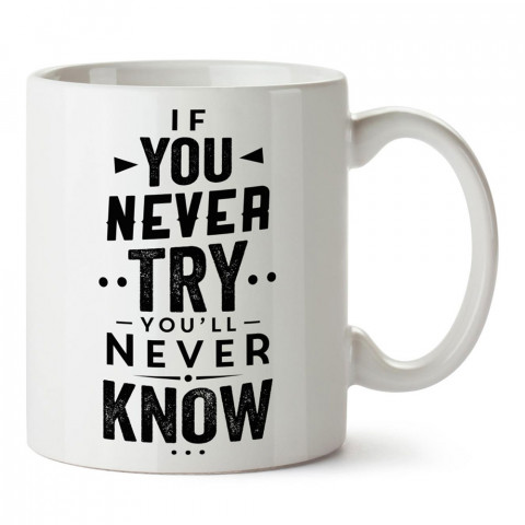 Denemezsen Asla Bilemezsin Yazılı tasarım baskılı porselen kupa bardak modelleri (mug bardak). Yazılı desenli hediyelik ürünler. Kahve kupası.