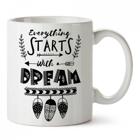 Her Şey Bir Hayal İle Başlar yazılı tasarım baskılı porselen kupa bardak modelleri (mug bardak). Yazılı desenli hediyelik ürünler. Kahve kupası.