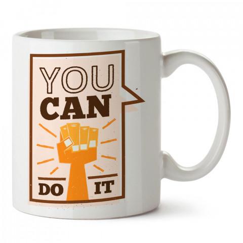 Bunu Yapabilirsin yazılı tasarım baskılı porselen kupa bardak modelleri (mug bardak). Yazılı desenli hediyelik ürünler. Kahve kupası.