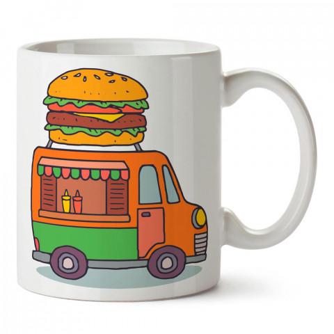 Araba Hamburger Büfesi tasarım baskılı porselen kupa bardak modelleri (mug bardak). Yiyecek çeşitleri desenli hediyelik ürünler. Kahve kupası.