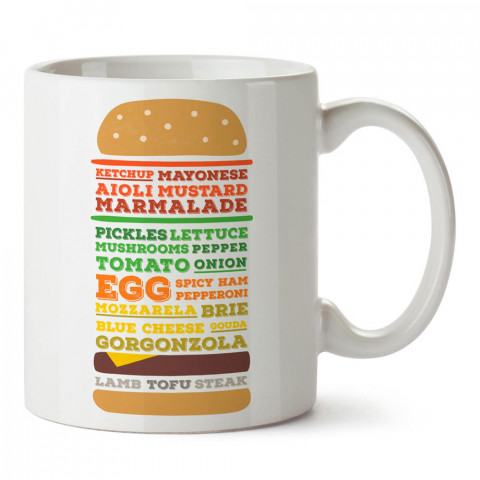 Burger Görünümlü Burger Tarifi tasarım baskılı porselen kupa bardak modelleri (mug bardak). Yiyecek çeşitleri desenli hediyelik ürünler. Kahve kupası.