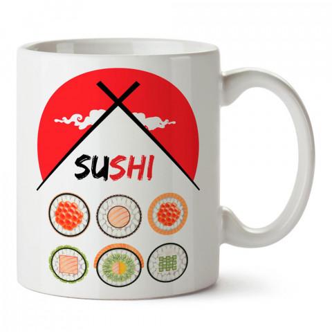 Chopstick ve Sushi tasarım baskılı porselen kupa bardak modelleri (mug bardak). Yiyecek çeşitleri desenli hediyelik ürünler. Kahve kupası.
