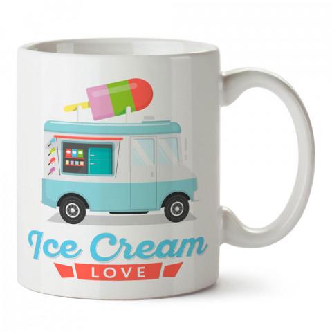 Dondurma Aşkı tasarım baskılı porselen kupa bardak modelleri (mug bardak). Yiyecek çeşitleri desenli hediyelik ürünler. Kahve kupası.