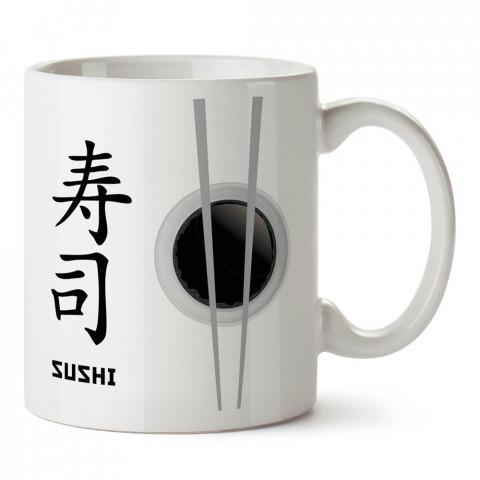 Japon Sushi ve Yemek Çubukları tasarım baskılı porselen kupa bardak modelleri (mug bardak). Yiyecek çeşitleri desenli hediyelik ürünler. Kahve kupası.