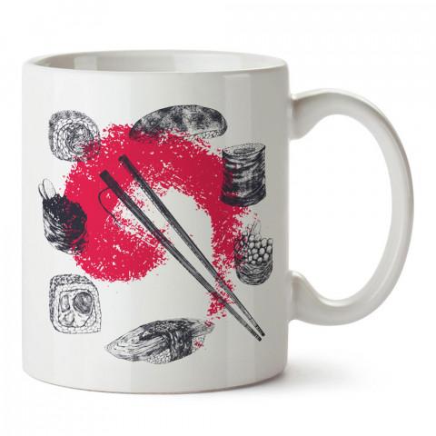 Karakalem Sushi Çizimleri tasarım baskılı porselen kupa bardak modelleri (mug bardak). Yiyecek çeşitleri desenli hediyelik ürünler. Kahve kupası.