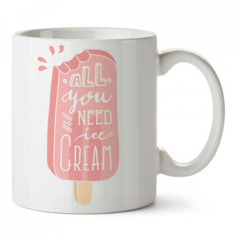 Çilekli Pembe Dondurma tasarım baskılı porselen kupa bardak modelleri (mug bardak). Yiyecek çeşitleri desenli hediyelik ürünler. Kahve kupası.