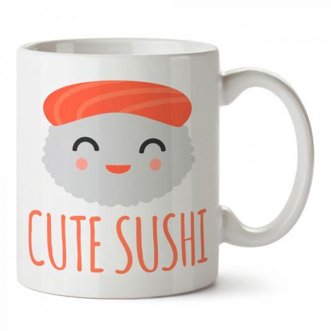 Şirin Sushi tasarım baskılı porselen kupa bardak modelleri (mug bardak). Yiyecek çeşitleri desenli hediyelik ürünler. Kahve kupası.