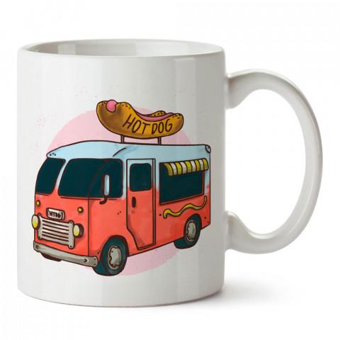 Gezici Hot Dog Arabası tasarım baskılı porselen kupa bardak modelleri (mug bardak). Yiyecek çeşitleri desenli hediyelik ürünler. Kahve kupası.