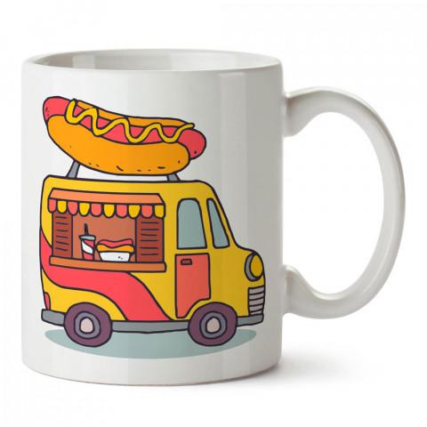 Gezici Sosisli Arabası tasarım baskılı porselen kupa bardak modelleri (mug bardak). Yiyecek çeşitleri desenli hediyelik ürünler. Kahve kupası.