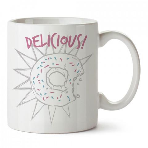 Lezzetli Donut tasarım baskılı porselen kupa bardak modelleri (mug bardak). Yiyecek çeşitleri desenli hediyelik ürünler. Kahve kupası.