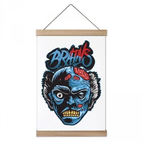 Mavi Brains Zombi tasarım modern ahşap çerçeveli dekoratif kanvas poster duvar tablo modelleri. En güzel hediye kanvas poster tablolar.