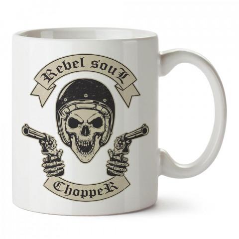 Asi Ruh Chopper Kuru Kafa tasarım baskılı porselen kupa bardak modelleri (mug bardak). Kuru kafa severlere en güzel hediye. Desenli kahve kupası.