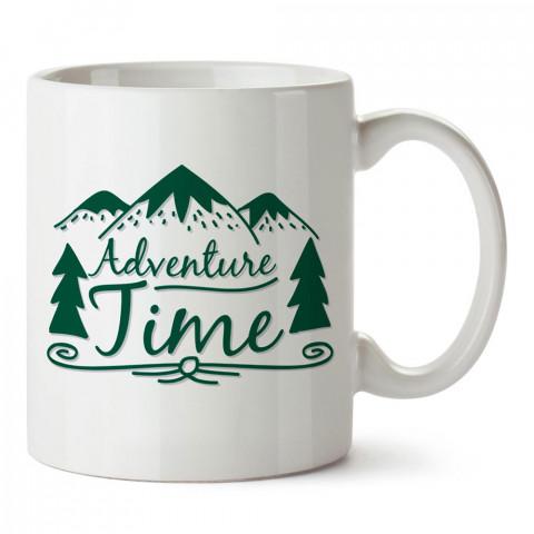 Macera Zamanı Orman tasarım baskılı porselen kupa bardak modelleri (mug bardak). Doğa, macera, kamp ve tatil sevenlere hediye. Kahve kupası.