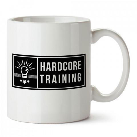 Hardcore Training Boks tasarım baskılı porselen kupa bardak modelleri (mug bardak). Dövüş, savunma, savaş sanatları ile ilgili hediye. Kahve kupası.