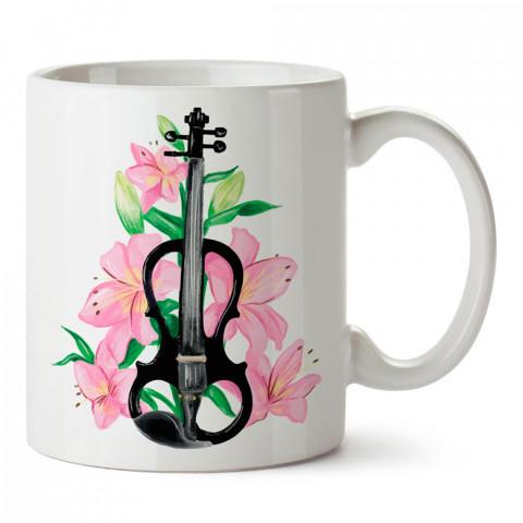 Çiçek Süslemeli Keman Çizimi tasarım baskılı porselen kupa bardak modelleri (mug bardak). Keman severlere en güzel hediye. Desenli kahve kupası.