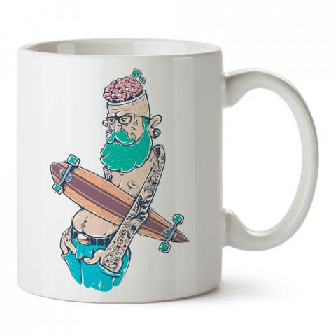 Kaykaycı Yaşlı Hipster tasarım baskılı porselen kupa bardak modelleri (mug bardak). Sevdiklerinizi mutlu edecek hediyeler. Hipster desenli kahve kupası.