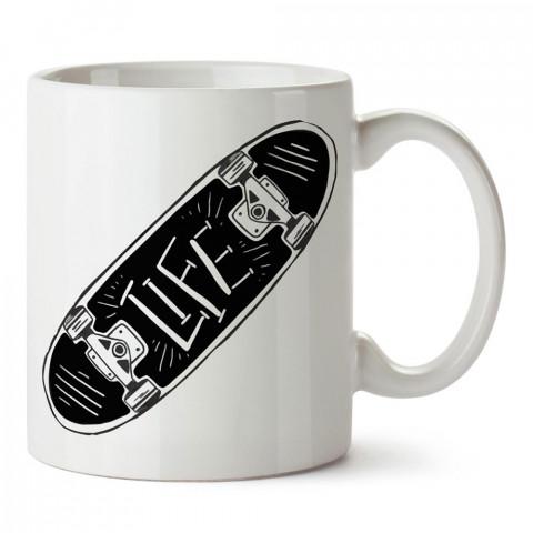 Skate Life Kaykay tasarım baskılı porselen kupa bardak modelleri (mug bardak). Kaykaycı ve patenci için en güzel hediyelik resimli kupa. Kahve kupası.