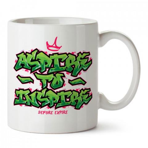 İlham İçin Umut Et tasarım baskılı porselen kupa bardak modelleri (mug bardak). Yazılı tasarımlı baskılı hediyelik ürünler. Kahve kupası.
