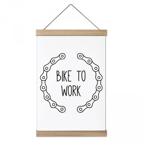 Bike To Work Zincir tasarım dekoratif ahşap çerçeveli kanvas poster tablo modelleri. Bisiklet severlere en güzel hediye modern kanvas poster duvar tabloları.