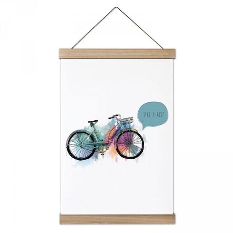 Bir Gezintiye Çık Suluboya Bisiklet tasarım ahşap çerçeveli kanvas poster tablo modelleri. Bisiklet severlere en güzel hediye kanvas poster duvar tabloları.