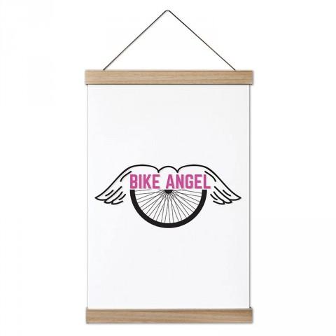 Bisiklet Meleği tasarım ahşap çerçeveli kanvas poster tablo modelleri. Bisikletçiye ve bisiklet severlere en güzel hediye modern kanvas poster duvar tabloları.