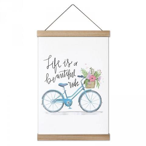 Çiçek Sepeti Bisiklet Gezintisi dekoratif ahşap çerçeve kanvas poster modelleri. Bisikletçiye ve bisiklet severlere güzel hediye modern kanvas poster tablolar.