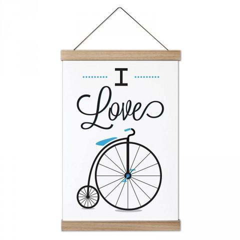 I Love Bicycle Bisiklet dekoratif ahşap çerçeveli kanvas poster modelleri. Bisikletçiye ve bisiklet severlere hediye modern kanvas poster duvar tabloları.