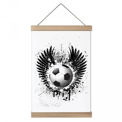 Kanatlı ve Boya Efektli Futbol Topu dekoratif ahşap çerçeveli kanvas poster tablo modelleri. Futbolcuya en güzel hediye modern kanvas poster duvar tabloları.