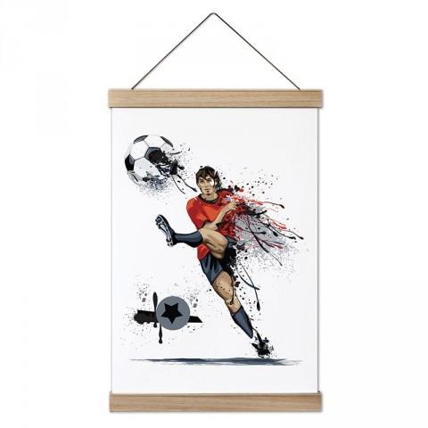 Boya Efektli Şut Çeken Futbolcu dekoratif ahşap çerçeveli kanvas poster tablo modelleri. Futbolcuya en güzel hediye modern kanvas poster duvar tabloları.