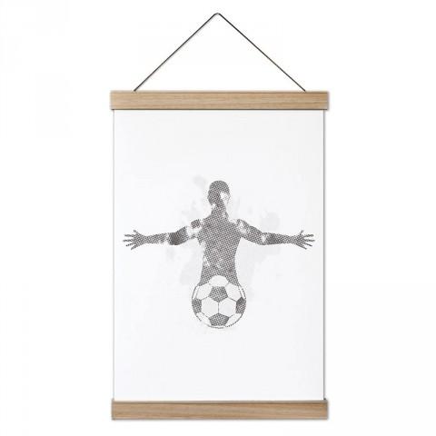 Futbol Topu ve İnsan Silüeti tasarım dekoratif ahşap çerçeveli kanvas poster tablo modelleri. Futbolcuya en güzel hediye modern kanvas poster duvar tabloları.