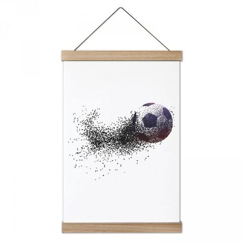 Piksel Futbol Topu Silüeti tasarım dekoratif ahşap çerçeveli kanvas poster tablo modelleri. Futbolcuya en güzel hediye modern kanvas poster duvar tabloları.