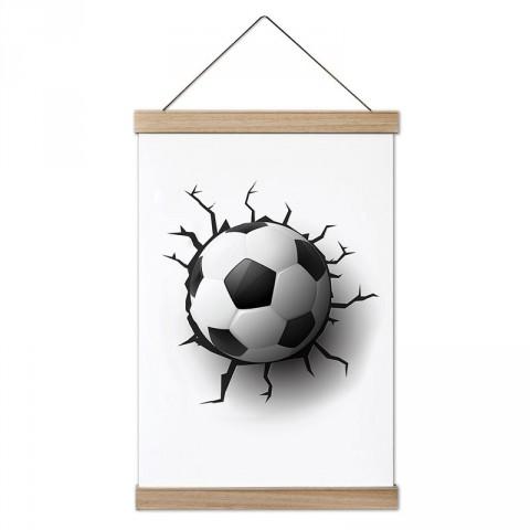 Duvarı Kıran Futbol Topu tasarım dekoratif ahşap çerçeveli kanvas poster tablo modelleri. Futbolcuya en güzel hediye modern kanvas poster duvar tabloları.