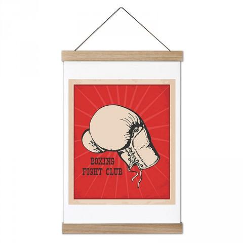 Boks Dövüş Kulübü tasarım dekoratif ahşap çerçeveli kanvas poster tablo modelleri. Dövüşçüye en güzel hediye modern kanvas poster duvar tabloları.