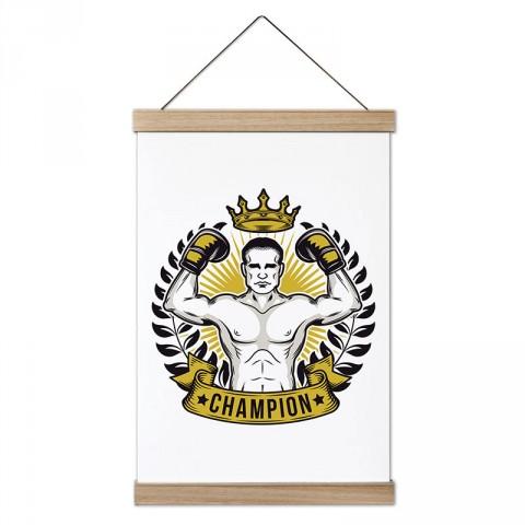 Şampiyon Boksör tasarım dekoratif ahşap çerçeveli kanvas poster tablo modelleri. Dövüşçüye, boksöre en güzel hediye modern kanvas poster duvar tabloları.