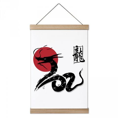 Japon Kültürü Ejder tasarım dekoratif ahşap çerçeveli kanvas poster tablo modelleri. Dövüşçüye en güzel hediye modern kanvas poster duvar tabloları.