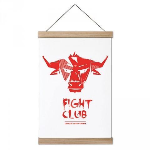 Dövüş Kulübü Boğa tasarım dekoratif ahşap çerçeveli kanvas poster tablo modelleri. Dövüşçüye en güzel hediye modern kanvas poster duvar tabloları.