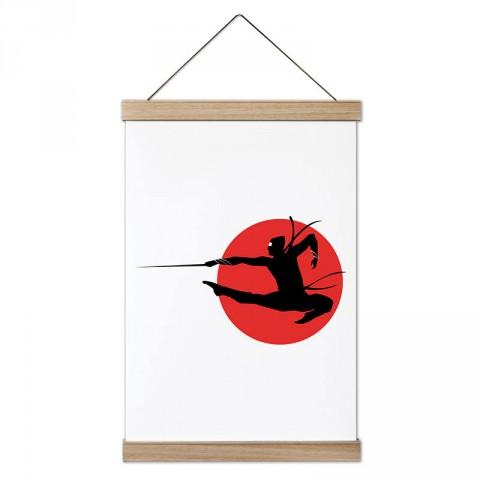 Japon Ninja tasarım dekoratif ahşap çerçeveli kanvas poster tablo modelleri. Dövüşçüye en güzel hediye modern kanvas poster duvar tabloları. Ninja posteri.