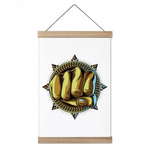 Altın Yumruk tasarım dekoratif ahşap çerçeveli kanvas poster tablo modelleri. Dövüşçüye en güzel hediye modern kanvas poster duvar tabloları.