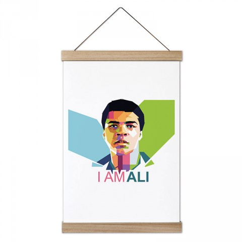 I Am Muhammed Ali tasarım dekoratif ahşap çerçeveli kanvas poster tablo modelleri. Dövüşçüye ve boksöre en güzel hediye modern kanvas poster duvar tabloları.