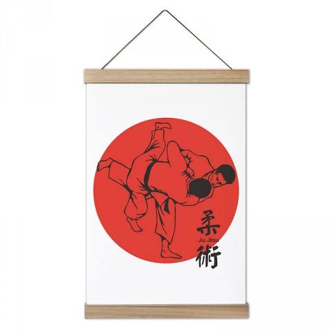 Jiu Jitsu Japon Kültürü tasarım dekoratif ahşap çerçeveli kanvas poster tablo modelleri. Dövüşçüye en güzel hediye modern kanvas poster duvar tabloları.